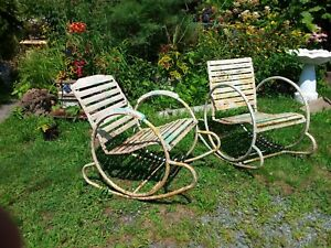 Rare Art Deco Iron Garden Rocking Chairs Set Of 2 Circle Sides Slat Seat