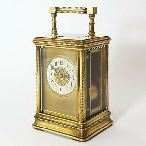 French Cannelee Cased Beaded Striking Carriage Clock C 1900