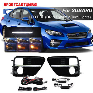 For 2015 17 Subaru Wrx Sti Sequential Led Turn Signal Lamp Drl Fog Bezel Lights