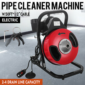 Electric Sewer Snake Drain Cleaner Auger 50 Ft Long 1 2 W 4 Different Heads