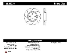 Oe Type Drilled Disc Preferred Fits 2007 2007 Hyundai Tiburon Centric Parts