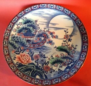 Large Toyo Porcelain Charger Pleasure Boat And Moon Blue Red Green Japan