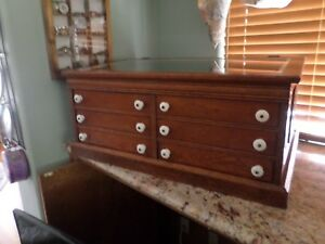 Oak Antique 6 Drawer Spool Cabinet Collector Or Jewelry Chest Glass Top