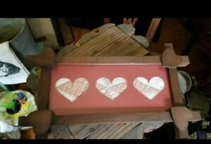 Primitive Wooden Framed Quilt Heart Picture Antique Wood Old Quilted Hearts 14