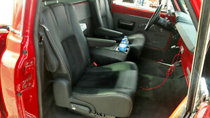 Black Leather Bucket Seats Pair Hotrod Jeep Truck Van Bus Humvee Vanagon