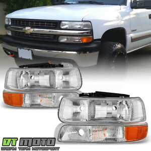 1999 2002 Chevy Silverado 00 06 Suburban Tahoe Headlights bumper Lights Lamps