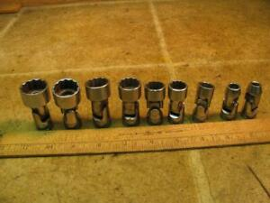Snap On 3 8 Drive Universal Swivel Socket Set Fd28a 7 8 5 16 Missing 7 16