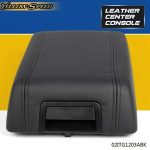 For 04 08 Ford F150 Center Console Arm Rest Lid Cover Pad Black Leather