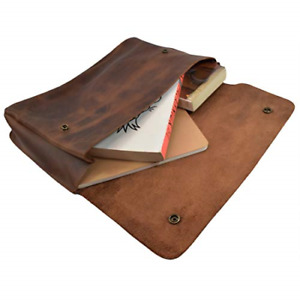 Vintage Leather Folder Document Holder file Case Essentials Handmade Brown New
