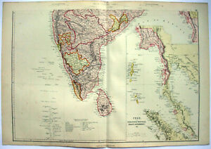 Southern India Original 1882 Map By Blackie Son Ceylon Antique