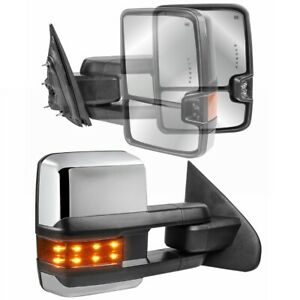 Pair Chrome Towing Mirrors For 14 18 Chevy Gmc W power Heated Fold Led Signal