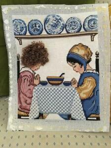Vintage Completed Two Girls Praying Finished 3d Needlepoint Kids Tapestry