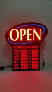 Newon Led Lighted Business open Sign With Business Hours Works Flashes