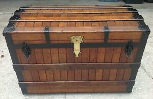 Antique Excelsior Oak Slat Trunk Super Nice And Rare