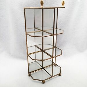 Vtg Brass Glass Tabletop Curio Display Case Shelf Mirror Back 13 25 H