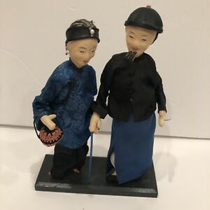 Vintage Asian Dolls Man Woman Figures On Stand
