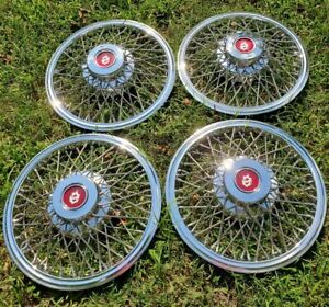 82 86 Oldsmobile Cutlass 14 Wire Wheel Covers Hubcaps Set Of 4 Very Nice Set