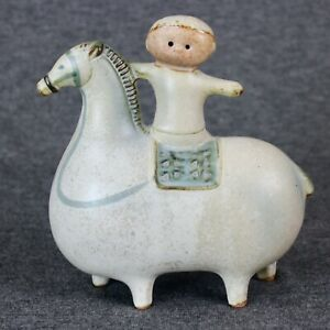 Boy On A Horse 1970s Uctci Stoneware Pottery Mid Century Modern Japan Figurine
