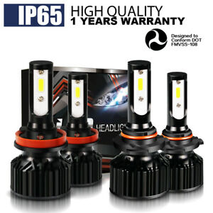 9005 H11 Combo Led Headlights High Low Beam 6500k Hid White Light 80w 6400lm Kit