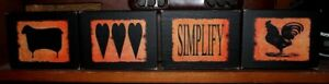 Primitive Rustic Shelf Sitter Simplify Sheep Hearts Rooster 4 Pc Sign Block Set