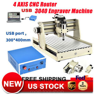 400w 4axis Usb Cnc Router 3040 Engraver Wood Milling 3d Carving Drill Machine