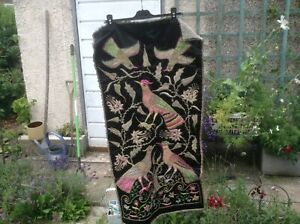 Vintage Black Panel With Embroidery And Gold Silver Coloured Wire Work
