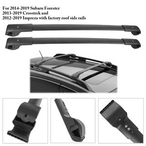 2pcs Top Cross Bar Carrier Roof Rack For 14 19 Subaru Forester Crosstrek Impreza