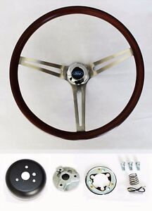 Low Gloss Wood Steering Wheel To Fit Ididit Flaming River Column 15 Ford Cap
