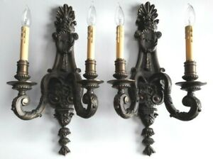 Vtg Pair Of Electric Bronze 2 Lights Arms Wall Sconces Lamps Shell Tassel Heavy