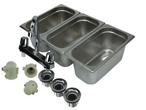 Concession Sink 3 Compartment Portable Food Truck 3 Small W Faucet Drain Traps