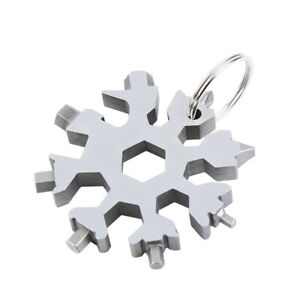 18in1 Pocket Multi Tool Keychain Snow Flake Steel Flat Cross Household Hand