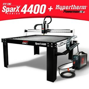 Stv Cnc Sparx 4400 4x4 Plasma Cutting Table Hypertherm Powermax45 Xp Machine