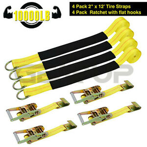 Tie Down Straps Auto Wheel Tire Net Car W Flat Hooks 4 Pack For Trailers Usa