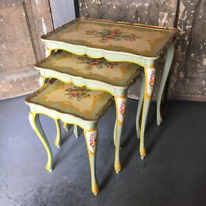 3 Italian Florentine Vintage Nesting Side Tables Floral Hand Painted Tops