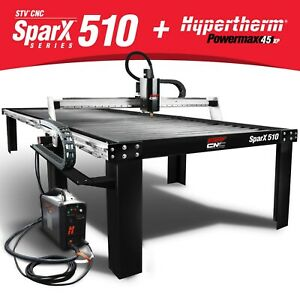 Stv Cnc Sparx 510 5x10 Plasma Cutting Table Hypertherm Powermax45 Xp Machine