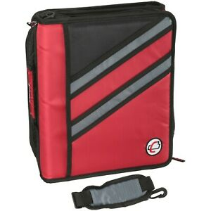 Case it 1 5 Inch Dual z Zipper Binder With 3 Inch Capacity Case it Z Binder Red
