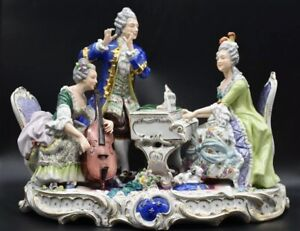 Volkstedt Dresden German Victorian Piano Musical 15 Figural Group Figurine