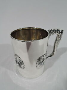 Gorham Mug 3980 Antique Christening Baby Cup Dog American Sterling Silver