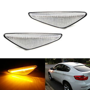 Clear Sequential Flash Amber Led Front Side Marker Light Kit For Bmw X3 X5 X6