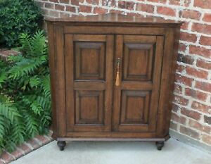 Antique English Oak Corner Cabinet Georgian Paneled Wall Cabinet Mid 19th C