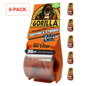 Gorilla 2 83in X 35yd Tough And Wide Shipping Packaging Tape W Dispenser 6 Pack