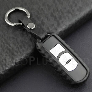 Carbon Fiber Look Smart Key Fob Case Silicone Cover W Key Ring For Mazda Models