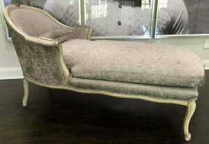 Vintage Antique French Style Upholstered Recamier Chaise Lounge