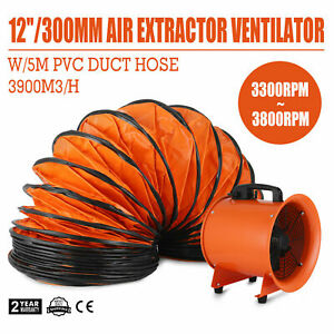 12 Extractor Fan Blower 5m Duct Hose Fume Utility Ventilation Exhaust Portable