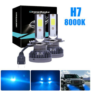 2x High Low Beam Led Kit Headlight Bulbs H7 Mini 8000k Ice Blue