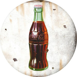 Coca-Cola Green Bottle Disc Decal 24 x 24 White Distressed
