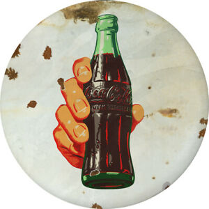 Coca-Cola Hand and Bottle Disc Decal 24 x 24 White Distressed