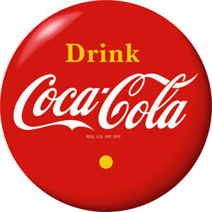 Drink Coca-Cola Red Disc Decal 24 x 24 Yellow 1930s Style