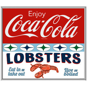 Enjoy Coca-Cola Lobsters Decal 1960s Roadside Style 24 x 21