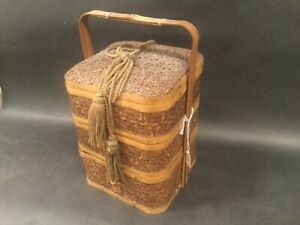Fine Antique 19th C Japanese Woven Bamboo Bento Lunch Box